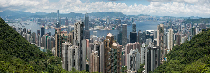 Panorama view of Hong Kong skyline view from the peak Fotomurales