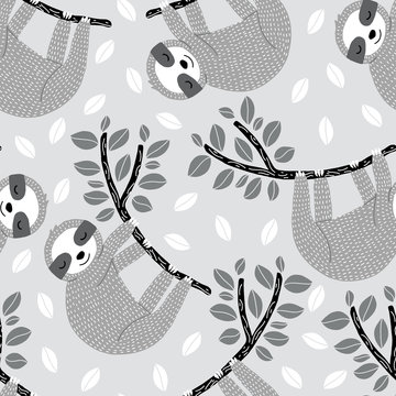 Seamless vector pattern with sleepy sloths hanging on leafy branches