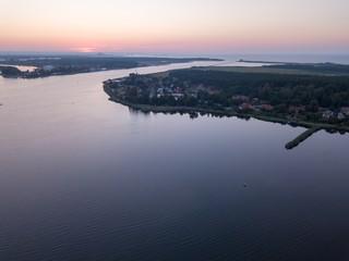 Beautiful sunset over estuary of Vistula river in Gdansk
