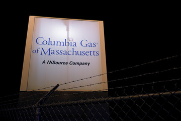 A sign marks the Columbia Gas of Massachusetts facility after dozens of explosions in Lawrence