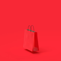 Shopping bag paper red color mock-up