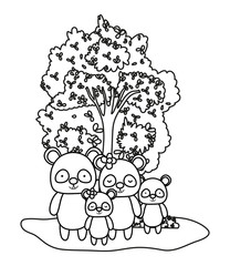 outline adorable panda family animals and tree