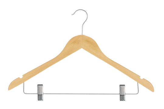 Wood clothes hanger with metal pants / skirt hanger isolated on a white background