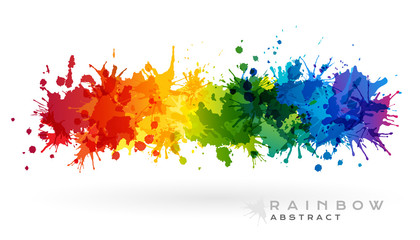 Stores photo Forme Rainbow creative horizontal banner from paint splashes.