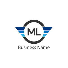 Initial Letter ML Logo Template Design