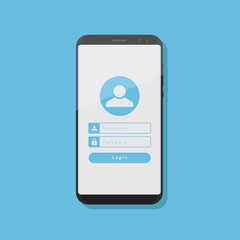 Enter a personal account on smart phone, flat design illustration