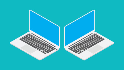 laptop isometric with blue screen angle left and right Wall mural