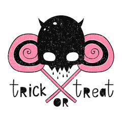 Trick or treat Vector illustration for Halloween. The cartoon style. Drawing by hand. Skull and candy