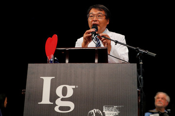 Horiuchi of Japan accepts the Ig Nobel for Medical Education during the Ig Nobel awards ceremony at Harvard University in Cambridge