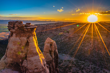 Beautiful Sunrise Hike at the Colorado National Monument in Grand Junction, Colorado Wall mural
