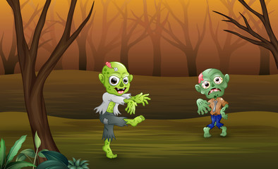 Halloween celebration of zombie cartoon in forest