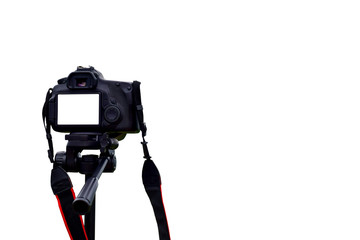 Camera on tripod photographers take clipping path work Isolated white background