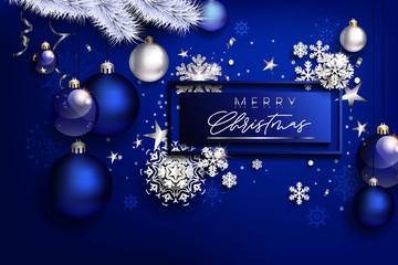 Modern blue Christmas composition