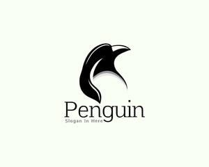 Head penguin art logo