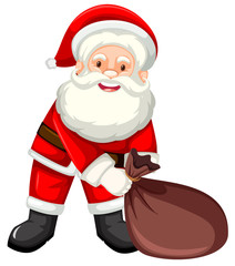 Happy santa with sack