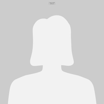 Woman icon for picture profile. Female icon. Human or people sign and symbol for template design. Vector.