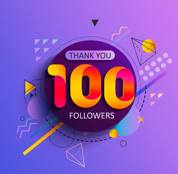 Thanks for the first 100 followers. Thank you followers congratulation card. Vector illustration for Social Networks. Web user or blogger celebrates and tweets a large number of subscribers.