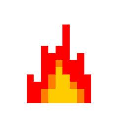 Fire pixel art. 8 Bit Flame. vector illustration