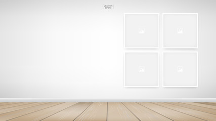 Empty photo frame or picture frame background in room space area with white wall background. Vector.