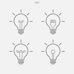 Set of light bulb icon. Lamp sign and stmbol. Vector.