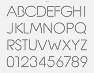 Set of stylized alphabet letters and numbers. Stylish typeface design. Vector.