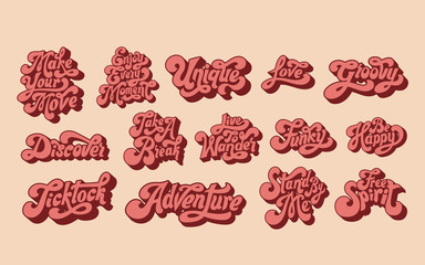 Mixed set of motivational words typography