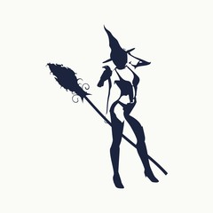 Illustration of standing young witch icon. Witch silhouette with a broomstick and raven. Lady rise her hand to the head. Halloween relative image