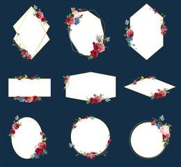 Romantic floral badge design illustrations