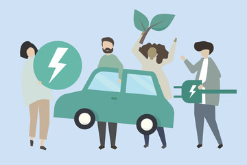 People with an electric car illustration