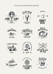 Set of food logo design vectors