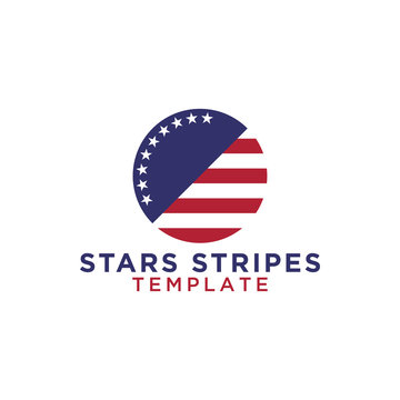 Circle stars and stripes logo design template vector