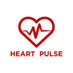 Illustration of red heart pulse logo template