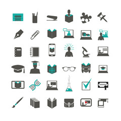 education icon set for web and mobile