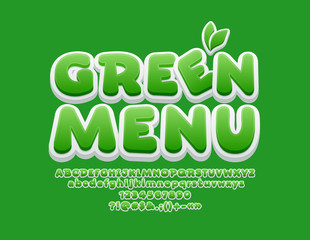 Vector Playful Font with text Green Menu. 3D Bright Font for Children.