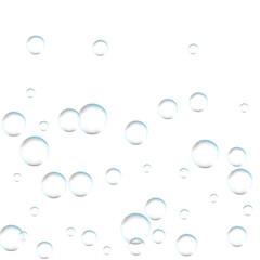 Underwater fizzing air bubbles on white background. Fizzy sparkles in water, sea, aquarium, ocean. Effervescent drink. Undersea vector texture.