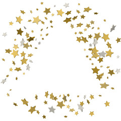 stars confetti, Frame of yellow shiny little stars , isolated on white background