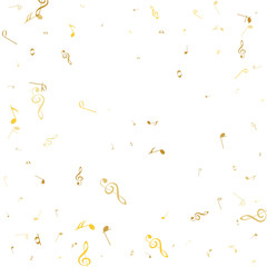 Golden music notes on a solide white background