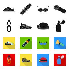 Vector design of mountaineering and peak icon. Collection of mountaineering and camp stock vector illustration.