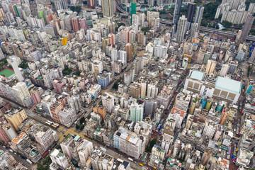 Aerial view of Hong Kong dense city building