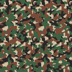 Military camo seamless pattern. Camouflage backdrop in forest green. Stock vector background.