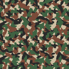 Military camo seamless pattern. Geometric camouflage backdrop in forest green. Stock vector background.