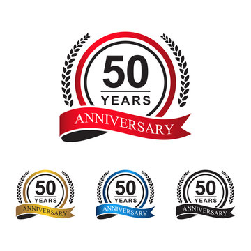 50th anniversary years circle ribbon