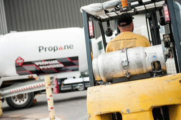 Propane-powered forklift