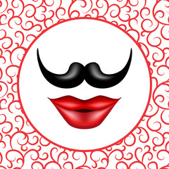 Mustache and Red Girl Lips Realistic Vector Hipster Illustration