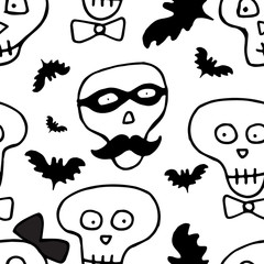 Skulls Hand Drawn Seamless Pattern for Halloween