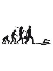 evolution entwicklung geboren zum schwimmen logo schwimmer verein team wasser kraulen schnell wettrennen schwimmbad sportler sport spaß tauchen hallenbad wellen clipart