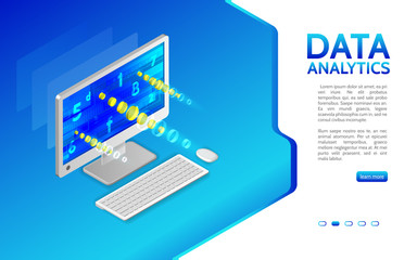 Abstract analytics system isometric illustration. Analysis of information on computer. Monitoring and statistics data processing. 3d landing page layout, web banner.