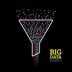 Big data visualization. Information analytics concept. Abstract information stream funnel.