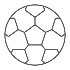 Soccer ball thin line icon, game and sport, football ball sign, vector graphics, a linear pattern on a white background, eps 10.