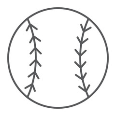 Baseball ball thin line icon, game and sport, ball sign, vector graphics, a linear pattern on a white background, eps 10.